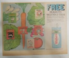 """Weber Bread Ad: """"Free! Peanuts Vegetable Seeds"""" from 1975 Size: ~11 x 15 inches"""