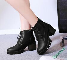 Retro Winter Women's Lace Up Ankle Boots Faux Leather Platform Shoes Plus Size^^