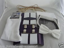 """Blanco 1,4 """" = 35mm Tirantes + Corbata De Moño + Blanco & Negro Pañuelos + Para Hombre Calcetines + Zapatos Cordones"""