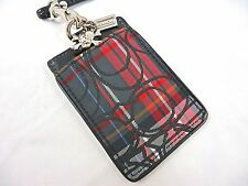 NWT COACH Tartan Plaid SKULL Charm Lanyard ID Badge Holder Pass Card Case 60712