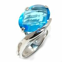 Blue Topaz Natural Gemstone Handmade 925 Sterling Silver Ring Size 8 R-116