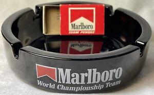 Vntg Marlboro World Championship Team Penske New Rare Glass Ashtray & Match Box