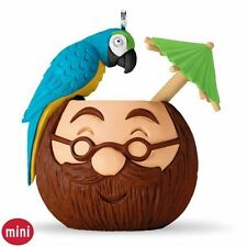 Tropical Drink Carved Coconut Cup with Parrot and Little Umbrella MINI ornament