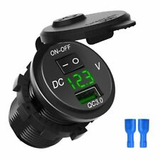 QC 3.0 Motocicleta Barco Coche Cargador USB Voltímetro LED de socket con interruptor on/off