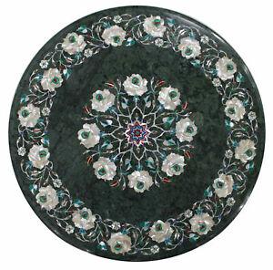 18'' Green Dining Marble Table Top Coffee Center Inlay Pietra Dura Malachite