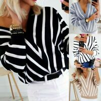 Women Sweater Sexy V-Neck Stripe Long Sleeve Casual Knit Jumper Pullover Tops