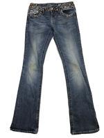 Miss Me JW4288B31 Boot Womens 28 Blue Stretch Bling Denim Pocket Flap Jeans