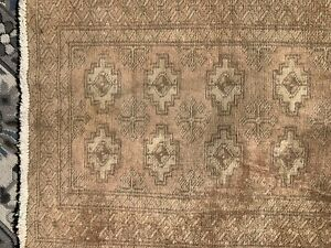 Bokhara Oriental Area Rug Wool Hand-Knotted Geometric All-Over Carpet 2 x 3 Beig