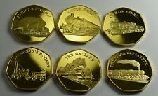 Full Set 6 x Iconic Steam Engines Token/Medals Silver. Mallard, Scotsman, Truro