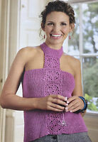 KNITTING & CROCHET PATTERN Ladies Halter Neck Top Flower Panel Debbie Bliss MAKE