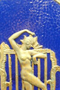 nice art deco lamp flapper girl metal blue glass gold color lights up new wires
