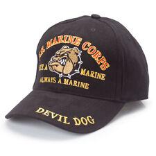 U.S. Marine Corps Devil Dog Black Hat Usmc Cap