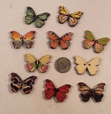 "Lot of 20 BUTTERFLY 2-hole Wood Button 1"" x 3/4"" (25mm) Scrapbook Craft (4286)"