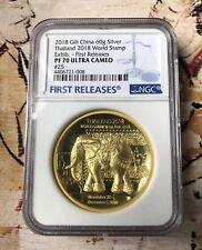 NGC PF70 2018 Thailand World Stamp expo Gilt Silver Elephant Medal 60gram