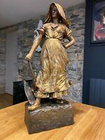 GOLDSCHEIDER & CISEAU, Art Nouveau, GRANDE TERRE CUITE patine OR XIXe-XXe