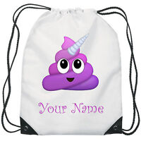 Personalised Unicorn Poop Emoji Gym Bag PE Dance Sports School Swim Shoe Bag
