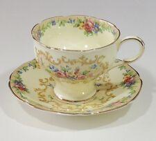 Paragon England Fine Bone China Minuet Corset Waist Footed Tea Cup & Saucer EUC