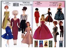 "Vogue 7108 & 7384 Barbie 11 1/2"" Doll 1950s 60s Dress Pattern s Retired Uncut"