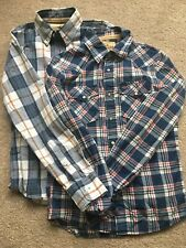 Lot 2 X Men's Hollister Long Sleeve Checked Shirts Size S Small great Condition