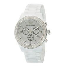 NEW EMPORIO ARMANI AR1456 WHITE CRYSTAL CERAMIC CHRONOGRAPH WOMEN'S WATCH UK