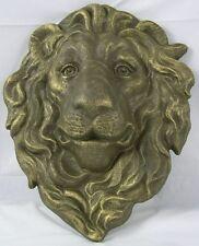 Iron Gold Lion Head Hanging Plaque Lawn & Garden Decor Lions Face Wall Decor