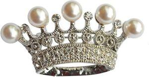Impressive Diamante & Pearl Crown Brooch Princess Crown Brooch Crown Lapel Pin