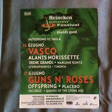 VASCO ROSSI Guns N'Roses Placebo 2008 Tour promo flyer 15 x 18 cm mini poster