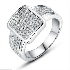 925 Silver Jewelry Elegant Round Cut White Sapphire Women Wedding Ring Size 8