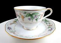 "NORITAKE JAPAN CONDOTTI FLORAL AND GOLD TRIM 2 1/2"" FOOTED CUP AND SAUCER SET"