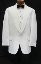 Boys Classic Solid White 1 Button Shawl Tuxedo Dinner Jacket Ringbearer 4B