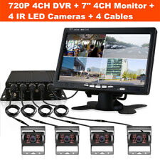 7'' HD 4CH Car DVR Monitor 4* 720P Camera Recorder Dash Cam For Truck Van Bus