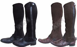 Suede Leather Half Chaps Black Brown All sizes Adults