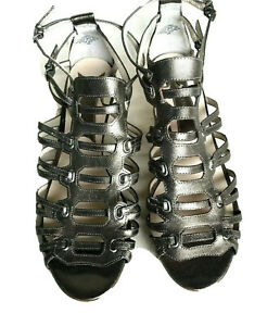 BOUTIQUE 9 Leather Metallic strappy Kitten Heel sandals shoes 10 Bttimid