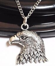 "BALD EAGLE_Pendant on 20"" Chain Necklace_Bird American Falcon Feather Silver_53N"