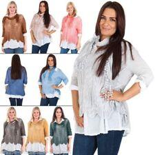 Maglie e camicie da donna maniche a 3/4 beigi cotone