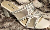 New Ashro Sandal Marengo Mesh Sandal 8M White Jewel Slide Mule Heel