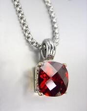 Garnet Cz Crystal Pendant Chain Necklace Designer Style Silver Gold Balinese Red