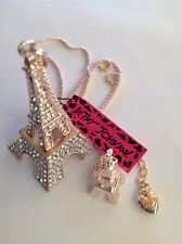 """CRYSTAL EIFFEL TOWER w/ Tower Charm 28"""" Pendant Necklace Betsey Johnson+"""