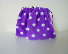 Stirrup Iron Covers (1 pair) - Spots - White on Purple
