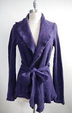 LAINEY purple 100% cashmere airy lacy open knit cardigan sweater self-tie belt