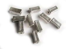 10 Metallperlen Rechteck 1,1cm, silberfarben, Perlen basteln, Zwischenperle