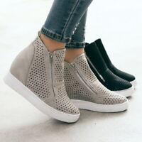 Women Toe Side Zip Ankle Boots High Wedge Heel Platform Flat Shoes Plus Size D/S