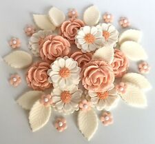 Peach/Ivory Wedding Roses Bouquet Cake Decorations Sugar Flowers Cupcake Topper