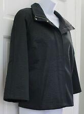 Michael Kors Womens Chic Black Jacket SZ M Animal Snake Print Zip Up Trendy