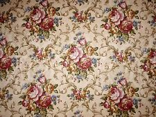 Mill Creek Floral Pattern ECRU Pink Green Blue Gold Cotton Drapery Sewing Fabric