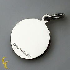 Tiffany & Co. Sterling Silver Round Tag Charm Pendant Great Condition!