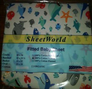NEW NIP Sheet World Fitted Baby Sheet Ocean Life bassinet white fish nautical