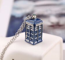 """Gift Bag + Dr Who Pendant Tardis Police Box + 20"""" Link chain necklace Doctor 3D"""