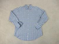 Peter Millar Button Up Shirt Adult Large Blue Brown Cotton Long Sleeve Mens B98*