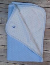 Tommy Hilfiger Baby Receiving Blanket Cotton Blue White Stars Swaddling